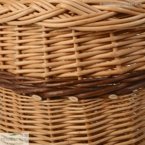 Einkaufskorb, Weidenkorb, Autokorb, Tragekorb aus geschälte Weide oval / zweifarbig