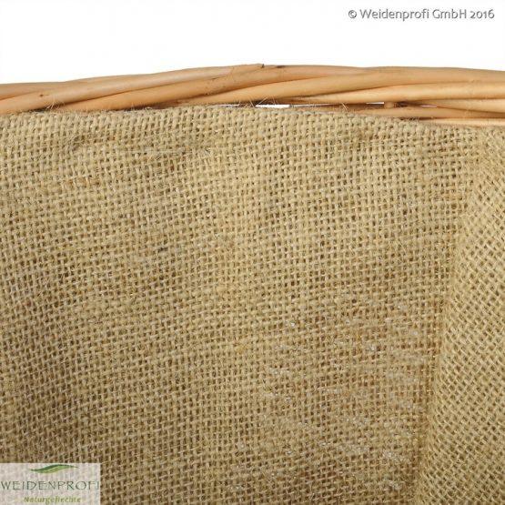 Erntekorb, Kaminholzkorb rund aus geschälter Weide mit Jute
