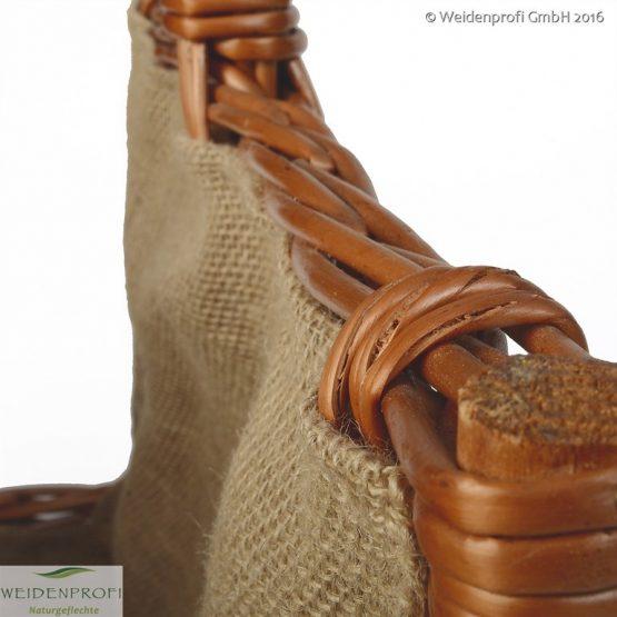 Brennholzkorb, Kaminholzkorb, Feuerholzkorb aus geschälter Weide rechteckig mit Jute vorne offen 50cm