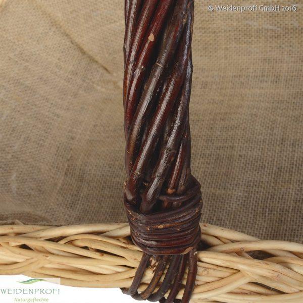 Brennholzkorb, Kaminholzkorb, Feuerholzkorb aus ungeschälter Weide oval mit Jute 65 cm
