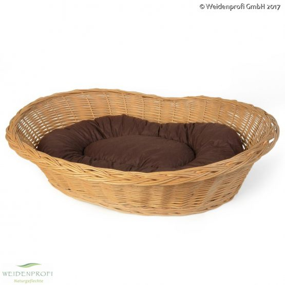 Hundekorb Weide, oval, mit Kissen